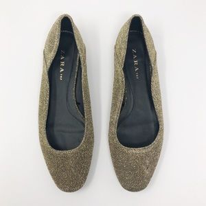 Zara TRF gold flats 38 dress shoes kitten heel